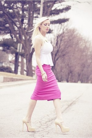 bubble gum pencil skirt my design skirt - nude platform pumps She Inside heels