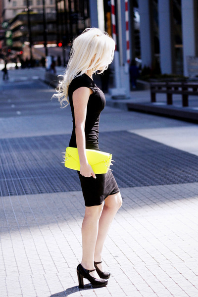 black pencil asos dress - yellow spikes Lorraine Tyne bag