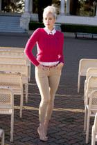 hot pink cableknit a&f sweater - tan skinny Zara leggings