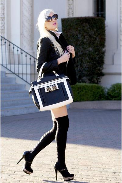 black Dama Handbags bag - white button down H&M shirt