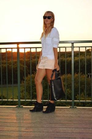 orange neon shorts - white blouse