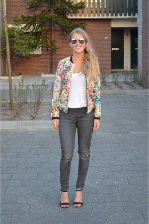 yellow floral print jacket - gray destroyed jeans - white shirt