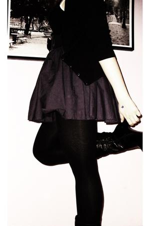 black H&M cardigan - black H&M top - purple Only skirt - black Only belt - black
