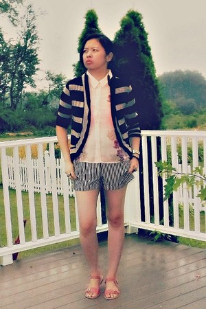 dark brown striped Forever 21 shorts - brown Forever 21 cardigan