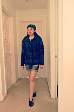 navy Papaya clothing coat - blue denim Macys shorts - black spike Boohoo flats