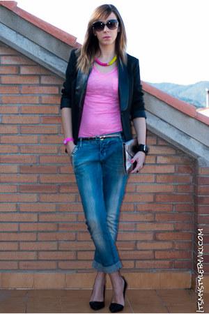 black Stradivarius blazer - sky blue Stradivarius jeans