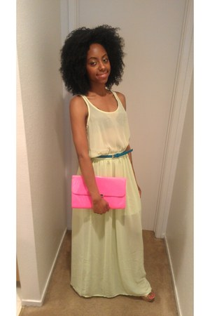 neon blue Forever 21 dress - neon pink Forever 21 bag