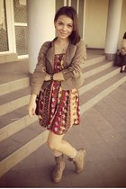 jacket - boots - dress