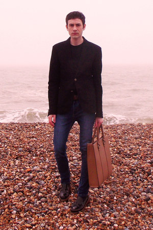 black Zara jacket - brown River Island shoes - navy River Island jeans
