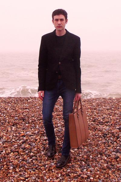 black Zara jacket - brown River Island shoes - navy River Island jeans