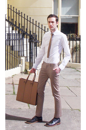 white Dolce&amp;Gabbana shirt - brown River Island shoes - tan Zara bag