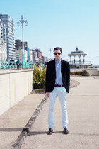 dark brown River Island shoes - black Zara jacket - sky blue Jaff Banks shirt