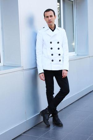 white DSquared jacket - black River Island jeans - black versace shirt