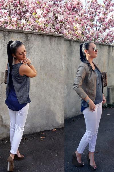 army green metallic Bershka wedges - white skinny Zara jeans