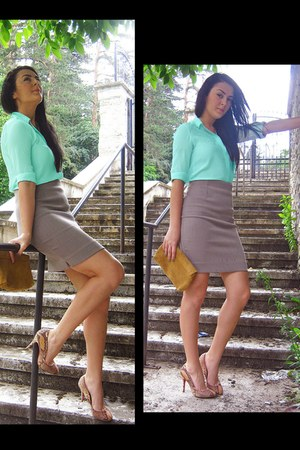 light blue silk asymetric Zara shirt - tan pencil skirt Zara skirt