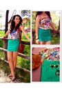 Turquoise-blue-h-m-skirt-green-floral-suiteblanco-top
