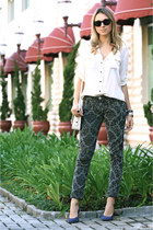 black baroque printed Animale pants - white silk white JCrew shirt