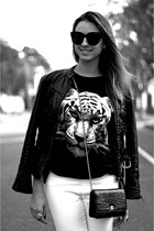 Chanel bag - tiger black romwe shirt