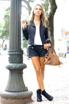 navy tweed shorts Zara shorts - black boots boots