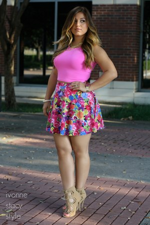 hot pink Forever 21 skirt - bubble gum Forever 21 top - nude UrbanOG heels