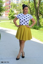 olive green Macys skirt - black polka dot top Forever 21 top