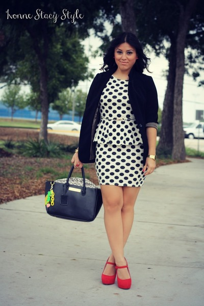red Steve Madden heels - white polka dots Primark dress