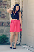hot pink H&M skirt - black Forever 21 shoes - black Forever 21 top