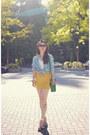 Turquoise-blue-celine-bag-gold-bdg-skirt-light-blue-forever-21-blouse