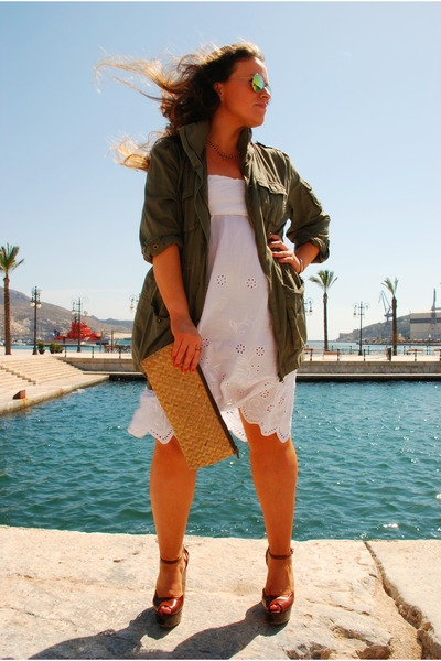 white vintage dress - olive green military jacket Topshop jacket