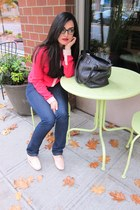 blue J Brand jeans - black kate spade bag - hot pink Anthropologie blouse