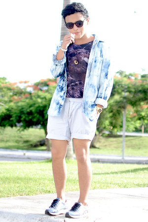 asos shirt - Sfera shorts - zeroUV sunglasses - vintage top