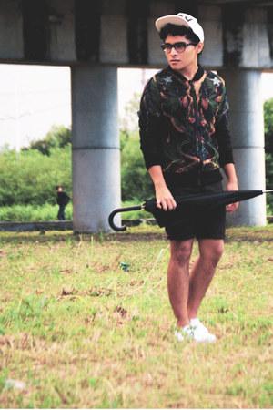 cap Boy London hat - Choies sweater - Zara shirt - diy Levis shorts