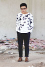 birds romwe sweater - oxfords Levis shoes - asos pants