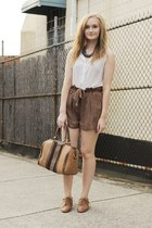 camel Sportsgirl bag - brown Ally shorts - white cotton on top