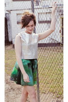 teal romwe skirt - silver 1989 the label top