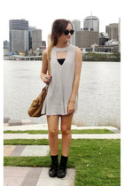 silver cameo romper - dark gray leather boots Roc boots