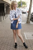 black asos boots - blue asos dress - white Neal Murren for Asos jacket