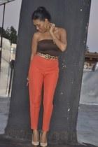 carrot orange highwaisted vintage pants - eggshell platform Enzo shoes