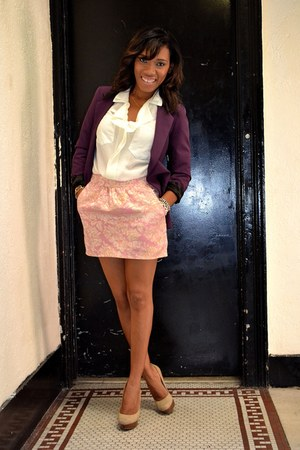 bubble gum brocade skirt - maroon blazer - ivory sheer top - camel pumps heels
