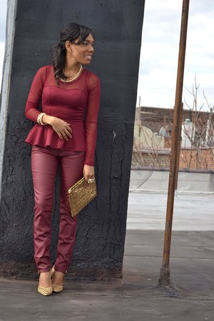 crimson leather jeans - crimson peplum top