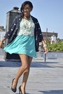 Navy-bird-print-forever21-blazer-black-pumps-michael-antonio-shoes