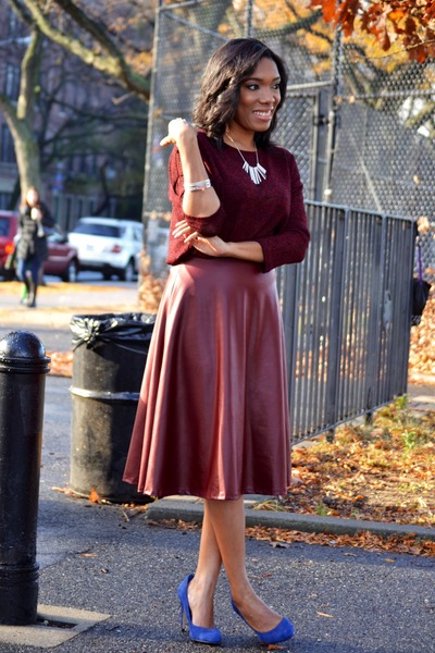 crimson midi Forever 21 skirt - navy suede aldos shoes