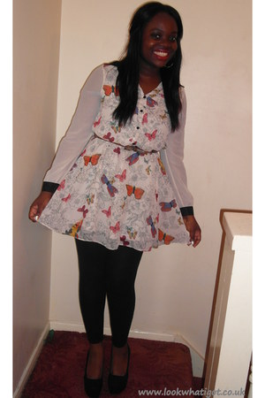 black Primark leggings - white floral Matalan dress