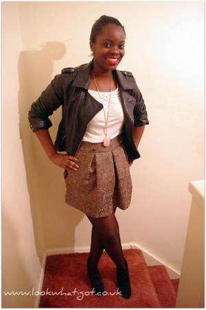 leather jacket - whiteembelished top - skirt - wedges - pink ang gold necklace