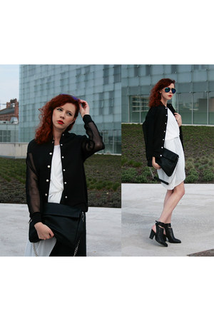 black Front Row Shop jacket - black Parfois bag - off white Zara top