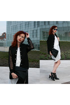 black Front Row Shop jacket - black Parfois bag - off white Zara top
