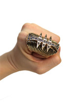 ROCK CHIC Chunky Spike Bold Statement Cocktail Ring- one size