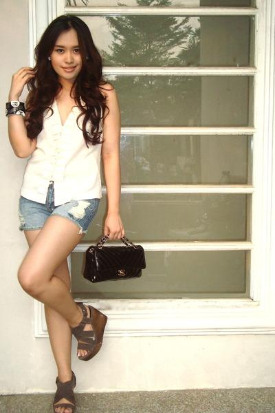 white Eclipse top - chevron bag Chanel bag - blue denim jeans H&M shorts
