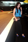 Blue-velvet-zara-shoes-blue-chiffon-gucci-dress-black-clutch-chanel-bag