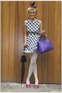 Purple-vivienne-westwood-shoes-purple-accessories-black-dress-white-leggin